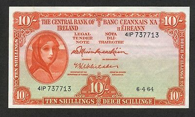 IRELAND 10 Shillings - 1964 Pick # 1a  Central Bank  XF+