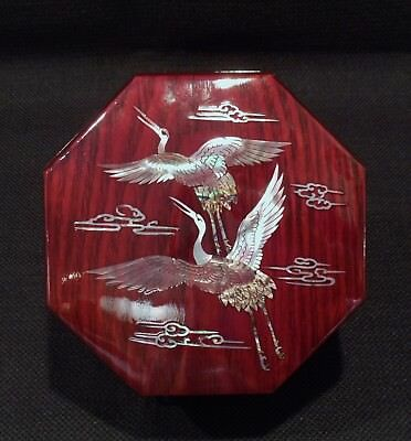 Japanese Octagonal Inlaid Lacquered Table Top Box Cranes In Flight