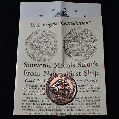 "1950's ""us Frigate Constelllation 1797"" Medal Struck With Copper Taken From Ship"