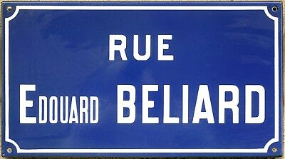 Old French enamel street sign plaque road name artist Édouard Béliard Etampes