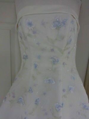 Santa Monica Ivory w/ Blue Floral Wedding Gown Sz 8 Preowned As Is