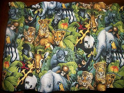 Baby Jungle Animals Giraffe Monkey Koala Toucan nursery fabric curtain Valance
