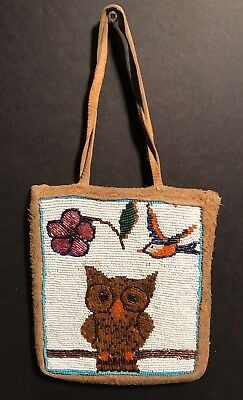 PLATEAU BEADED PICTORIAL BAG with Charming Owl & Bluebird,Early 20th C,Excellent