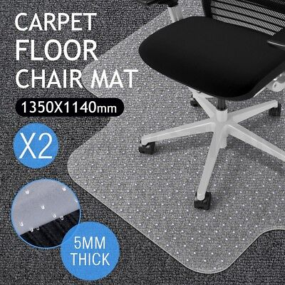 2x Carpet Chair Mat Floor Protector Office Computer Plastic Chairmat 135 x 115cm