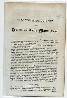 1869 Marion Alabama Baptist Missionary Board on Native American Indians; Germans