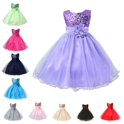 Flower Girl Dress Sequins Formal Princess Holiday Birthday Party Bridesmaid NEW