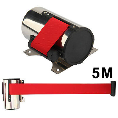 5M Belt Stanchion Red Queue Barrier Post Wall Mount Retractable Ribbon Control