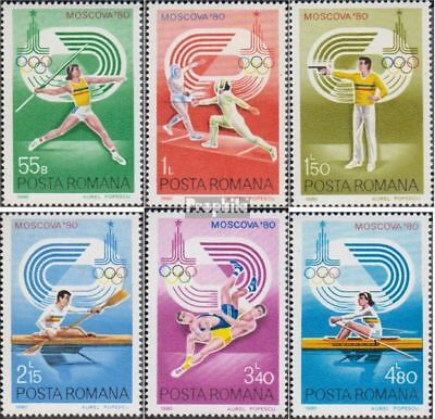 Romania 3733-3738 (complete issue) used 1980 Olympics Summer