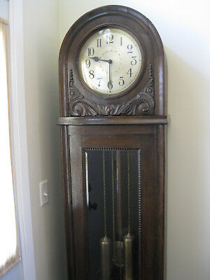 Early 1900's Arch Round Top Grandfather Clock Antique Gustav Becker Case 8 Day!