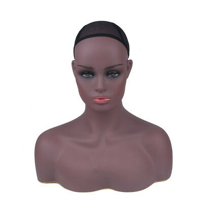 Female Mannequin Head Display Stand Wigs Hats Dark Skin Realistic Sturdy UK