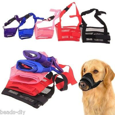 Dog Cat Train Adjustable Mask Anti Bark Bite Mesh Mouth Muzzle Stop Chewing US