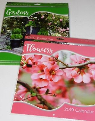 """CALENDAR FOR 2019. FLOWERS, GARDENS, BOUQUETS 10"""" SQUARE, X 12  JUST 95p, (0561"""