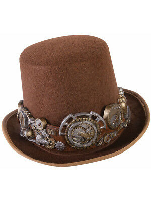 Mens Deluxe Steampunk Brown Derby Top Hat Gear Band Costume Accessory