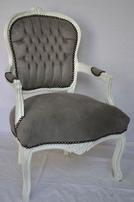LOUIS XV ARM CHAIR FRENCH STYLE CHAIR  VINTAGE FURNITURE grey white
