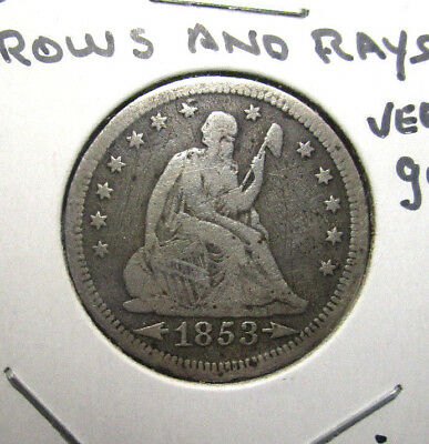 1853 Seated Liberty Quarter ***arrows & Rays*** Vg Very Good One Year Type