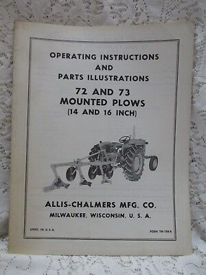 Vintage Allis Chalmers Operating Instructions 72 and 73 Mounted Plows