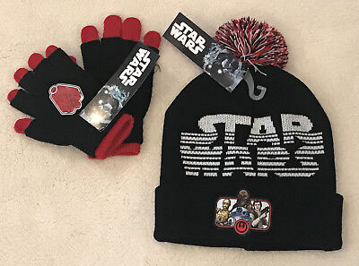 Boys STAR WARS Knit Beanie Hat & Gloves Black & Red One Size OSFM NEW NWT