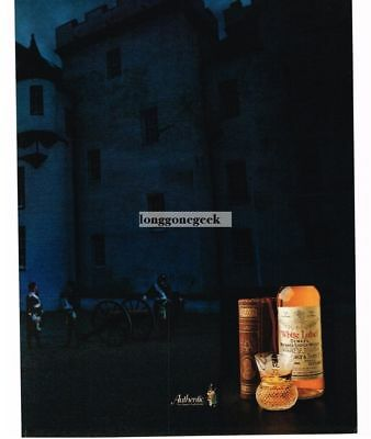 1985 DEWAR'S White Label Scotch Scottish Castle Highlander Cannon Vtg Print Ad