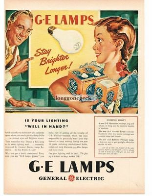 1946 GE General Electric Lamps Light Bulbs Little Girl Buys art Vtg Print Ad