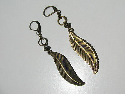 Vintage Antiqued Brass Figural Feather Motif French Lever Backs Pierced Earrings