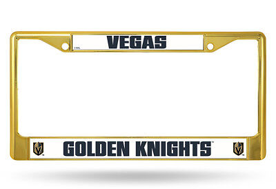Vegas Golden Knights Official NHL Gold Colored License Plate Frame Chrome Rico