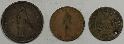 3 Pc Lot Of Canada Colonial Tokens - Circulated 1833 Half Cent Holed