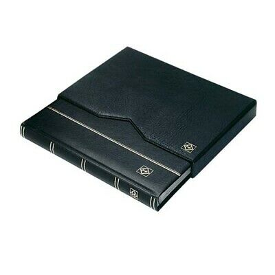Stockbook A4, 32 black pages,padded leather* cover,+ case,blue
