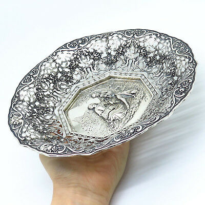 Antique Victorian Germany 800 Silver Floral Design Couple Repousse Pierced Bowl