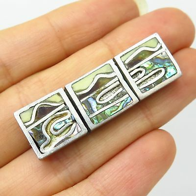 Vtg Europe 925 Sterling Silver 3-Tone Inlay Abstract Pin Brooch