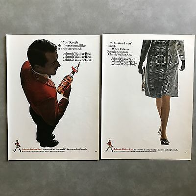 Johnnie Walker Red Label Scotch Print Ad Lot 10 Different 1966 to 1969 Vintage