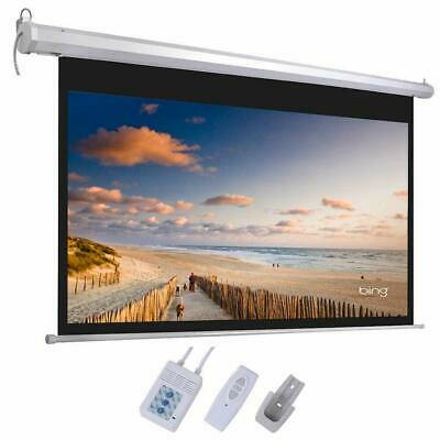 "92"" 16:9 HD Electric Motorized Projector Screen 1080P 4K 3D + Remote White"
