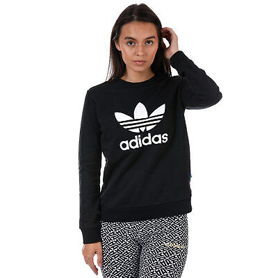 WOMENS ADIDAS ORIGINALS Trefoil Crew Sweatshirt In Black