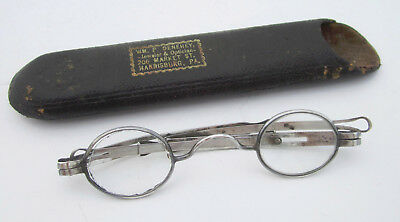 Old Antique Early 1800's Silver STEINER Eyeglasses w Adjustable Pull Out Temples