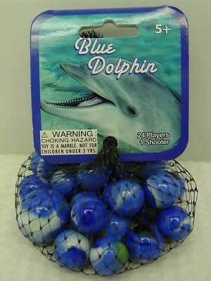 BLUE DOLPHIN-Net Bag Of 24 Player Mega Marbles & 1 Shooter-Instructions & Facts
