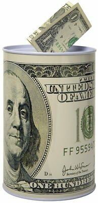 100 Dollar Bill Metal Money Coin Piggy Bank Party Favor Fathers Day Gift Tin Can