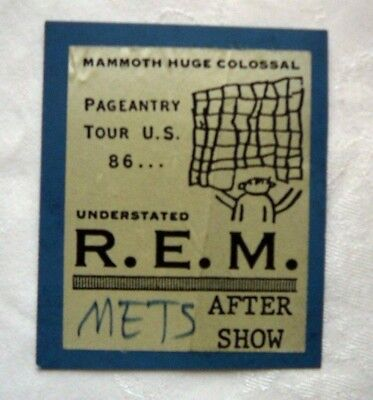 R.e.m. Used 1986 After Show Pass Mets  W/ Bonus Gift