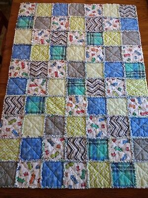 NEW! Crib size handmade FLANNEL rag QUILT blue, green, gray, red - BABY boy