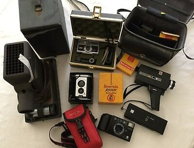 Vintage Kodak Vivitar Minolta Camera Lot w/ slide projector