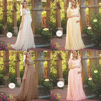 Long Maternity Lace Maxi Dress Pageant Gown for Pregnant Women Photography Shoot