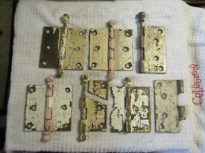 Antique Victorian Ornate Decorative Eastlake 3.5 x 3.5 Door Hinges Matched Set +
