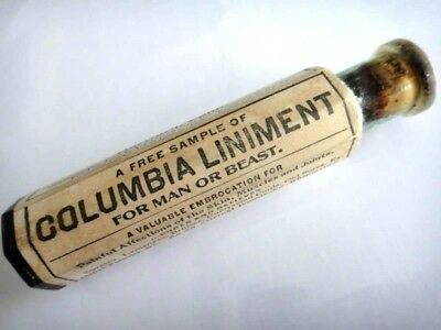 """antique UNUSED~COLUMBIA LINIMENT """"MAN OR BEAST"""" BLUE BOTTLE APOTHECARY quack med"""