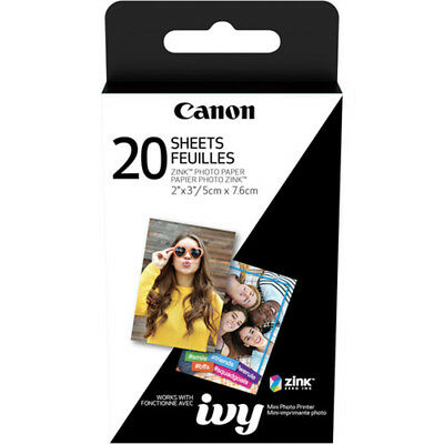"Canon 2 x 3"" Zink Photo Paper Pack (20 Sheets) for Ivy Mobile Photo Printer 3204"