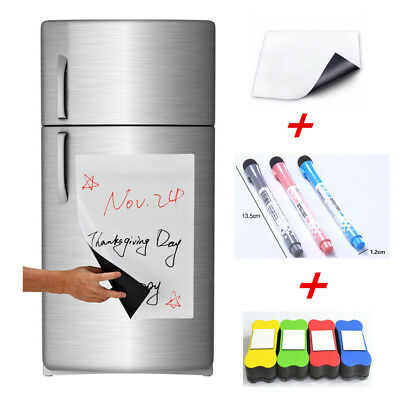 1/3Pcs Magnet Flexible Fridge Magnetic Whiteboard Memo Reminder Board Pen Eraser