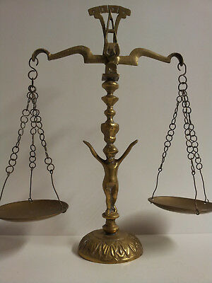 Vintage Antique Solid Brass Balance Scale Figural Cherub Stem