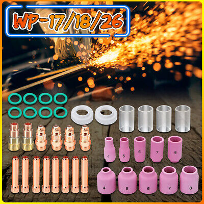 49 PCS TIG Welding Torch Stubby Gas Lens #10Pyrex Glass Cup Kit For WP-17/18/26