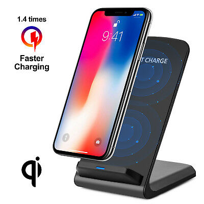 Qi Wireless Fast Charger Charging Pad Stand Dock For Galaxy S8+ iPhone X 8 XS XR