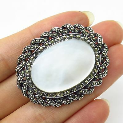Vtg 925 Sterling Silver Large Mother-Of-Pearl & Marcasite Gem Pin Brooch