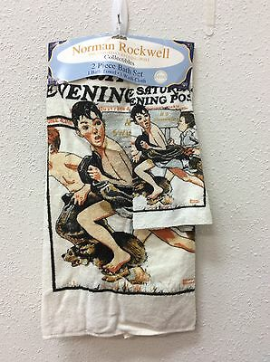 Norman Rockwell This Saturday Evening Post Collectibles 2 Piece Bath Set Towel