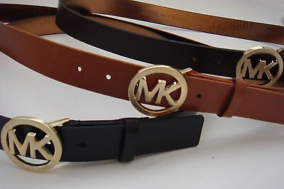 New Michael Kors MK Logo Medium Width Belt * Black Brown Tan w/ Gold S M L XL