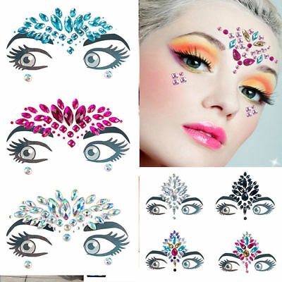Fashion Adhesive Face Gems Jewels Festival Party Body Glitter Stickers Tattoo